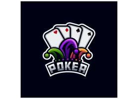 小丑扑克主题游戏徽章图标LOGO设计
