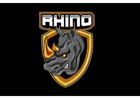 犀牛主题游戏徽章图标LOGO设计
