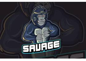猩猩主题游戏徽章图标LOGO设计