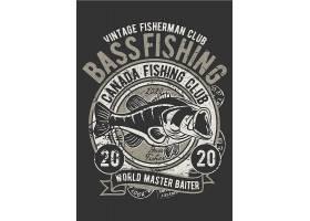 鱼类主题复古T恤图案设计