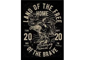 老鹰主题复古T恤图案设计