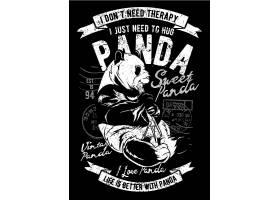 熊猫主题复古T恤图案设计
