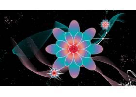 花,摘要,数字的,艺术,彩色,壁纸,(1)