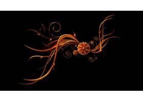 花,摘要,设计,橙色的,壁纸,(1)