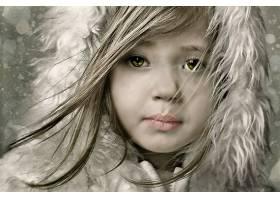 儿童,女孩,小的,女孩,绿色的,眼睛,壁纸,
