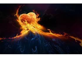 心,爱,火,橙色的,天空,手,壁纸,