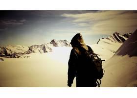 摄影,山,雪,动机,鼓舞人心的,人,黑暗,壁纸,