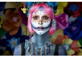 糖,头盖骨,女孩,化妆品,项链,脸,粉红色,头发,天,关于,这,死亡的,