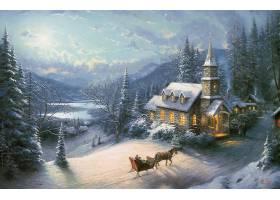 油,绘画,马,画画,车辆,绘画,冬天的,雪,教堂,山,森林,过时的,壁纸