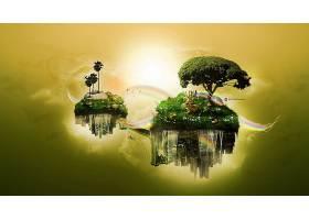 桌面地形,摘要,数字的,艺术,城市,动物,绿色的,幻想,浮动的,岛,鹿