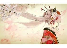 图画,女孩,亚洲的,和服,花,樱花,长的,头发,粉红色,头发,东方的,