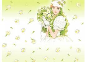 图画,女孩,妇女,花,绿色的,眼睛,绿色的,头发,壁纸,