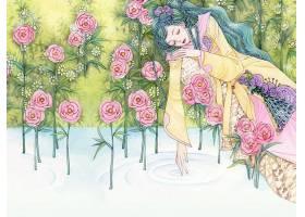 图画,妇女,女孩,花,蓝色,头发,粉红色,花,壁纸,