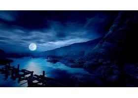 夜晚,风景,蓝色,月球,壁纸,