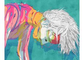 引起幻觉的,妇女,彩色,鼻涕虫,白色,头发,壁纸,
