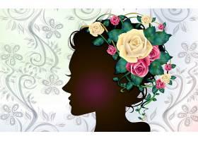 矢量,女孩,轮廓,轮廓,花,头发,壁纸,