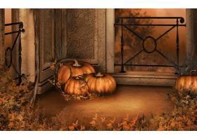 秋天,南瓜,叶子,壁纸,