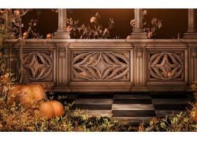 秋天,南瓜,叶子,阳台,列,壁纸,
