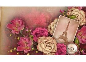 拼贴,巴黎,爱,玫瑰,粉红色,埃菲尔铁塔,塔,壁纸,