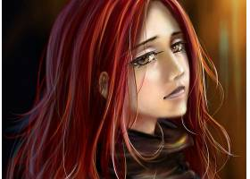 女人,绘画,妇女,悲哀的,红色,头发,棕色,眼睛,脸,壁纸,