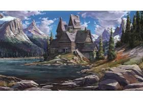 幻想,房子,建筑物,山峰,山,岩石,壁纸,