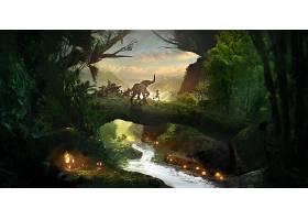 幻想,儿童,艺术的,大象,桥梁,森林,迷人的,河,灯光,壁纸,