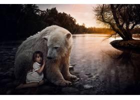 幻想,儿童,艺术的,小的,女孩,极地的,熊,操纵,壁纸,