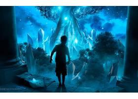 幻想,儿童,艺术的,小的,男孩,森林,蓝色,壁纸,
