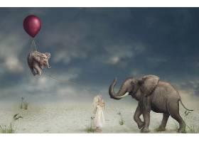 幻想,儿童,艺术的,操纵,小的,女孩,激增,大象,壁纸,