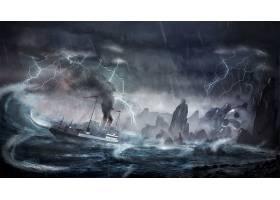 幻想,船,暴风雨,闪电,海岸,岩石,头盖骨,壁纸,