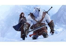 幻想,勇士,极地的,熊,女孩,妇女,刀,雪,蓝色,眼睛,壁纸,