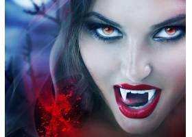 幻想,吸血鬼,妇女,口红,黑发女人,红色,眼睛,毒牙,壁纸,