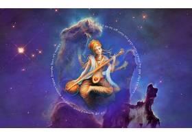 幻想,诸神,妇女,女孩,女神,天空,锡塔尔琴,空间,印度人,壁纸,