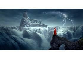 幻想,诸神,海王星,妇女,闪电,水,雕像,瀑布,神秘的,壁纸,