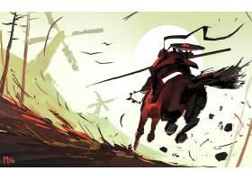 幻想,勇士,太阳,风车,马,矛,壁纸,