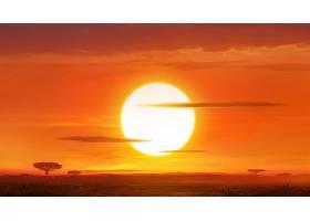 幻想,风景,太阳,大草原,壁纸,