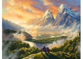 幻想,风景,山,山峰,河,动物,壁纸,