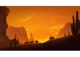 幻想,风景,峡谷,日落,当地的,美国的,美国的,野牛,西方的,壁纸,