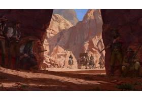 幻想,勇士,牛仔,马,西方的,峡谷,壁纸,