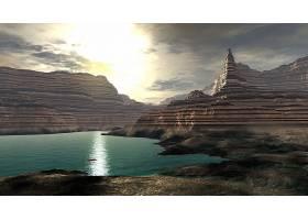 风景,湖,峡谷,壁纸,