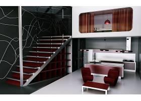 房间,厨房,内部,设计,设备,楼梯,CGI,壁纸,