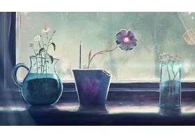 绘画,窗户,花,花瓶,雨,雨点,壁纸,