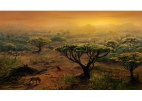 绘画,鬣狗,非洲,风景,树,大草原,壁纸,