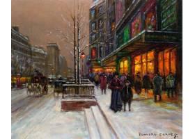 绘画,冬天的,城市,过时的,壁纸,