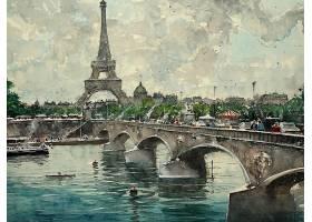 绘画,桥梁,巴黎,埃菲尔铁塔,塔,水彩画,河,壁纸,