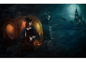 幻想,万圣节前夕,城堡,月球,蝙蝠,运输,骨骼,南瓜,红色,头发,顶端