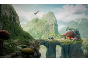 幻想,蘑菇,峡谷,山,拱门,壁纸,