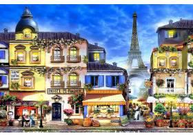 绘画,巴黎,埃菲尔铁塔,塔,街道,房子,彩色,富有色彩的,壁纸,