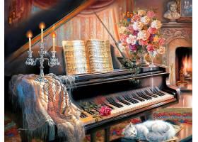 绘画,蜡烛,钢琴,活的,房间,壁炉,猫,花,过时的,壁纸,