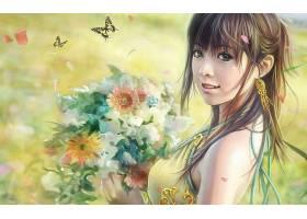 幻想,女人,酒香,花,女孩,妇女,绿色的,眼睛,蝴蝶,耳环,微笑,壁纸,